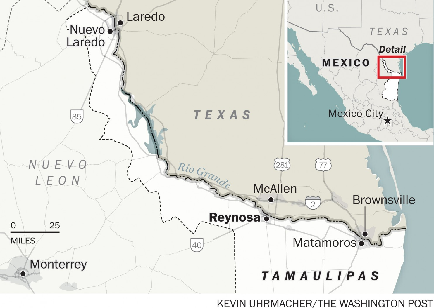 Map of Reynosa's location near the border with Texas