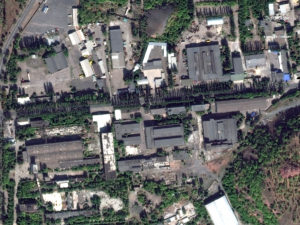 Isolyatsiya Art Centre, a former factory turned art exhibit turned military base, where Aseyev is being kept. (Satellite image ©2018 DigitalGlobe, a Maxar company)